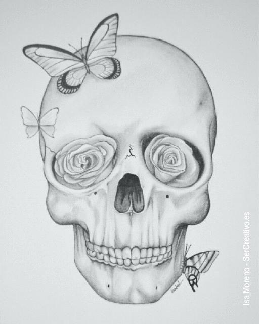 Imagenes Para Dibujar A Lapiz Dibujo De Calavera Con Mariposa En 3d Amor Dibujos Calaveras A Lapiz Dibujos A Lapiz Faciles