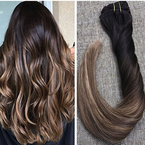 7pcs 50g Ombre Off Black Dark Brown Blonde Clip In Remy Human Hair