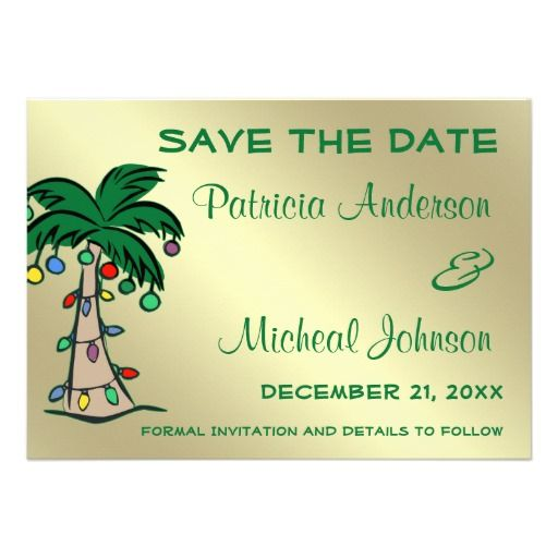 Tropical Palm Tree Save The Date Announcement