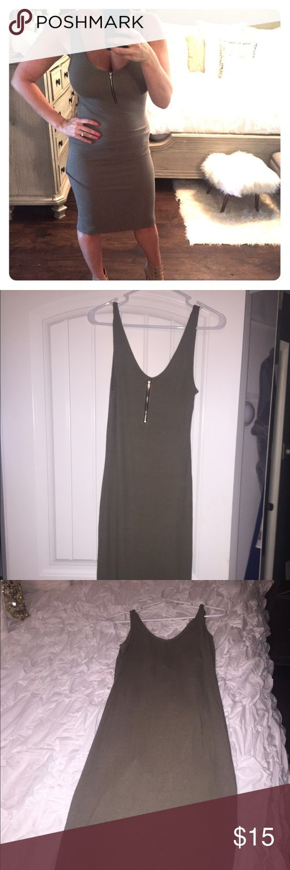 Olive dress Olive green dress with front zipper. Form fitting but super comfortable!  Never worn but no tags. Size M Dresses Midi