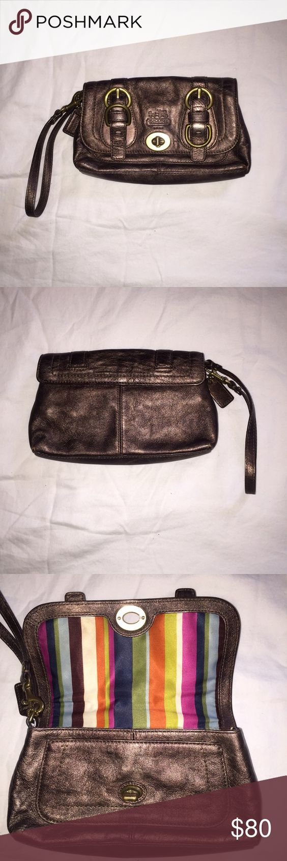 "EUC Coach Bronze Wristlet EUC Coach Bronze Wristlet with traditional satin striped lining.  Only used twice, in excellent condition & can provide more pictures if needed!  Detachable wrist step and Coach tag; size is about 8.5"" long and 5"" tall. Coach Bags Clutches & Wristlets"