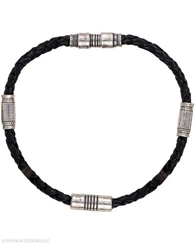 """Be a man-about-town wearing this braided Leather and Sterling Silver Bracelet. Fits up to an 8"""" wrist with a magnetic closure."""