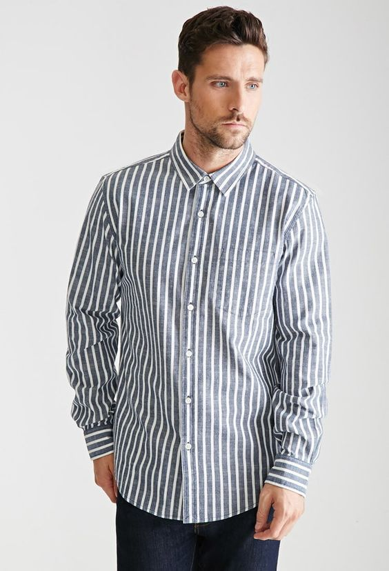$17, 21men 21 Striped Chambray Button Down Shirt. Sold by Forever 21. Click for more info: https://lookastic.com/men/shop_items/321652/redirect