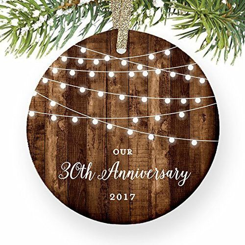 30th Anniversary Gifts Dated Thirtieth Anniversary Married For Couple Mr Mrs Rustic Xmas Round Christmas Ornament Keepsake Xmas Tree Decoration Wedding Annivers Married Christmas Ornaments Farmhouse Christmas Ornaments Baby First Christmas