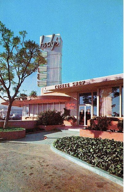 Hody's Restaurant La Brea Los Angeles CA  3553 So. La Brea Ave. (corner La Brea & Rodeo Road)  postmarked 1961