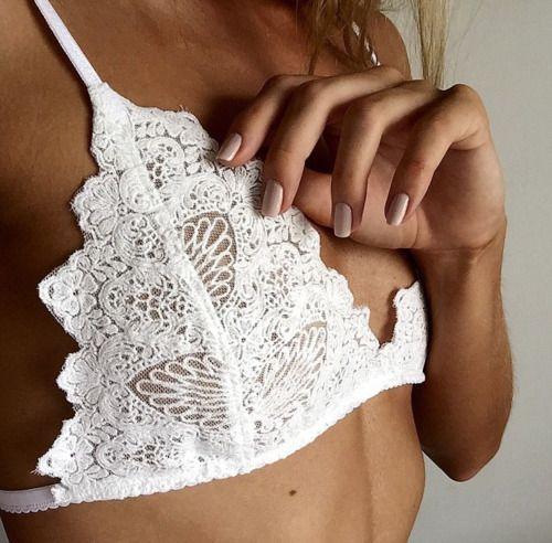 white lace bra: