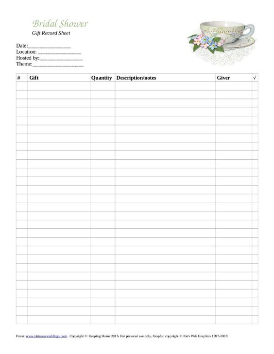 bridal shower gift record template - 28 images - baby shower gift ...