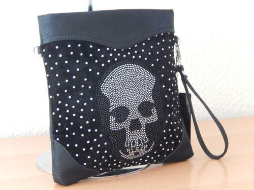 Handtasche-Unterarmtasche-schwarz-Samt-Schultertasche-Nieten-Totenkopf-Kunstlede