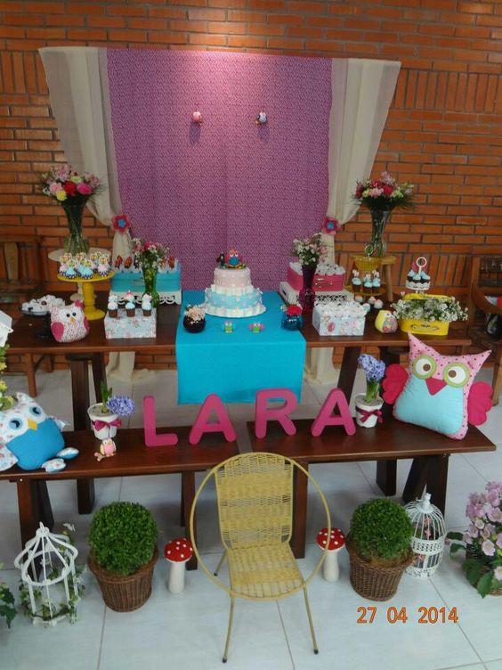 Jardim de corujas da Lara by Ramos de Cor - Atelier de Festas! www.ramosdecor.com.br