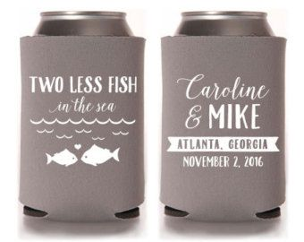 Custom wedding favor two less fish in the sea can for Two less fish in the sea