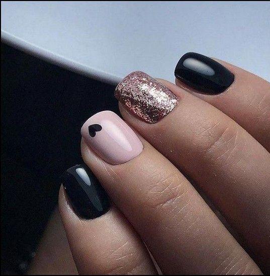 Nails Design Nails Art Gold Nails Rose Gold Nails Black Nails With Glitter
