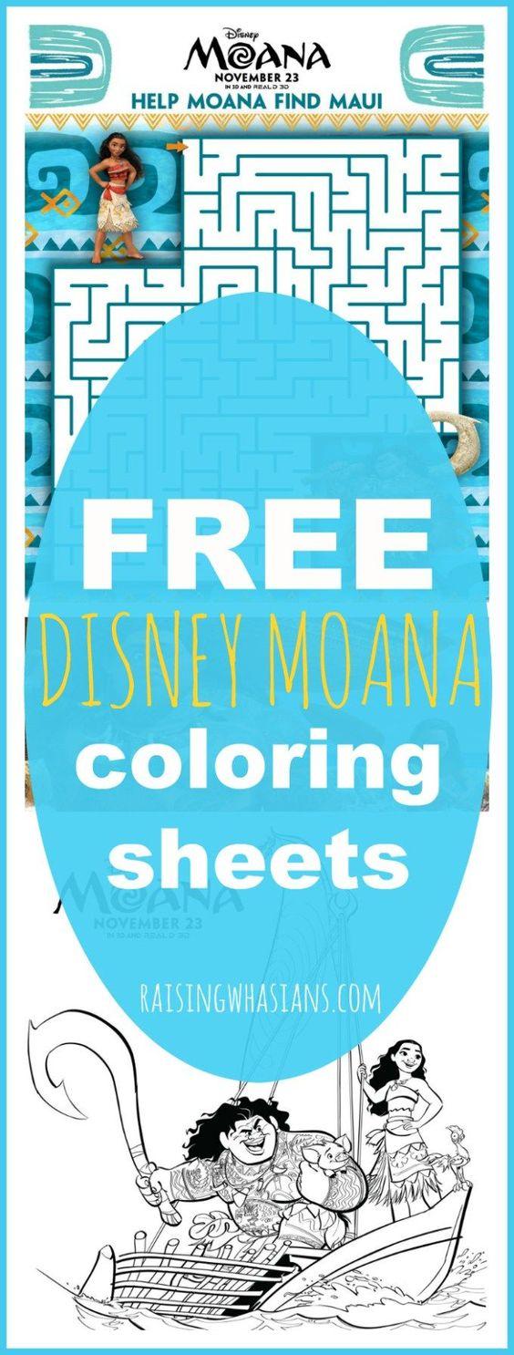 FREE Moana Coloring Sheets Kids