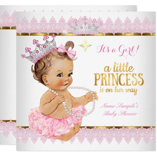 Princess Baby Shower Pink Gold Brunette Baby Invitation Zazzle Com Tarjetas De Bautizo Niña Invitaciones Invitaciones Rosadas