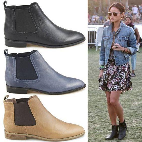 Women's Designer Flat Ankle Boots in black, Camel & Blue