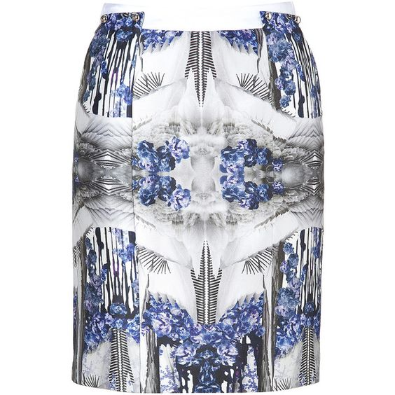 PRABAL GURUNG Blue-Multi Printed Silk-Cotton Pencil Skirt ($1,420) ❤ liked on Polyvore