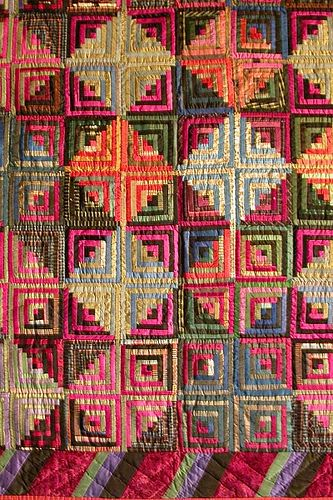 Log Cabin, 1850-1875, Silk, pieced. The size makes them think it was a parlor throw and not a bed cover.