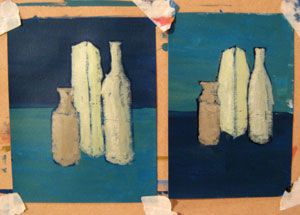 Art Glossary: Study: Two still-life studies, trying different colors for the foreground and background.