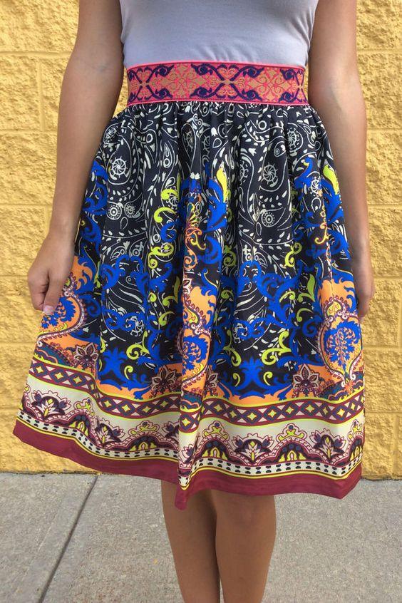 Piece Print Mid-Length Skirt