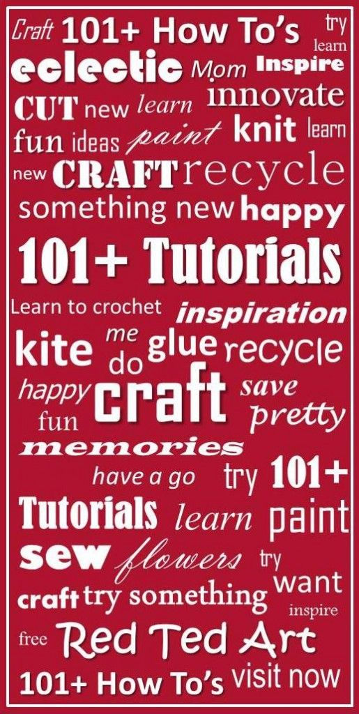 """For crafty you - an eclectic list of fabulous """"How tos"""". Challenge yourself to try something new this month?"""
