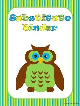 This *Free* packet includes 18 forms to create a substitute binder for your classroom.
