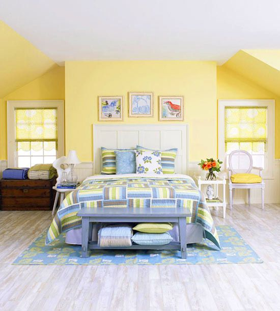 astonishing blue yellow bedroom decorating ideas | Yellow Bedrooms We Love | Easy quilts, Hue and Guest rooms