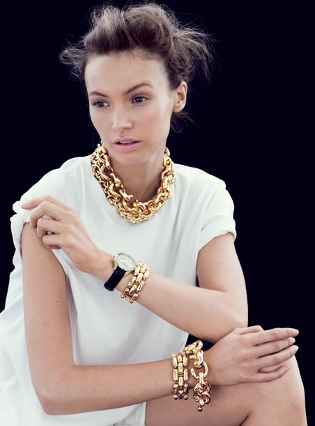All White and Gold Jewelry.