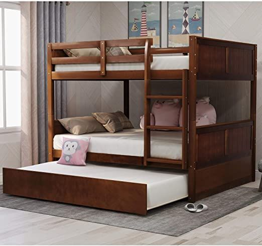 Rhomtree Full Over Full Bunk Bed With Trundle Wood Bed Frame With Ladder And Safety Rail Bedroom Furniture For A Bunk Bed With Trundle Bunk Beds Full Bunk Beds Full over full with trundle