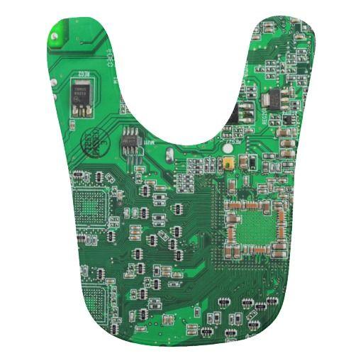 Green Computer Geek Circuit Board Baby Bibs