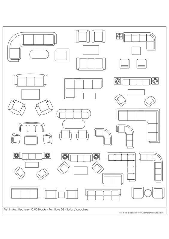 Fia cad blocks furniture 08 pinterest for Chaise lounge cad block