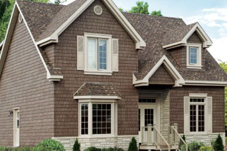 Vinyl Shake Siding Vinyl Siding With Stone Chimney