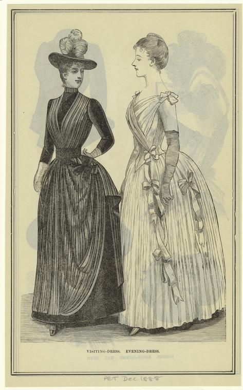 Visiting and evening dresses, 1888 US, Peterson's Magazine