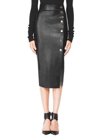 Leather Wrap Pencil Skirt with Snaps