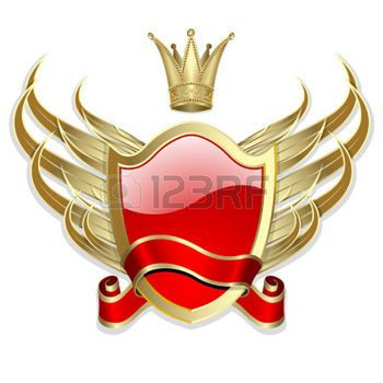 %D0%9A%D0%BE%D1%80%D0%BE%D0%BD%D0%B0%3A+Gold-framed+label+with+wings+and+red+ribbon+on+the+white+background: