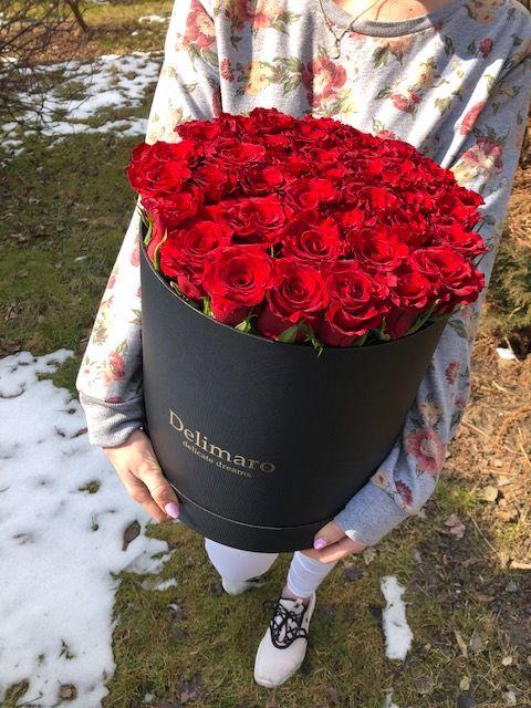 Flowerbox Delimaro Czerwone Roze W Czarnym Pudelku 3 Flower Boxes Red Carp Flowers