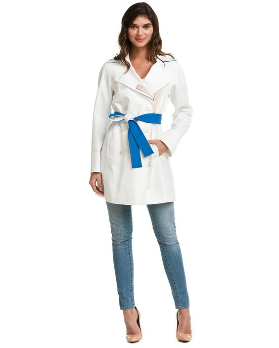 Tahari Missy White Contrast Belted Trench