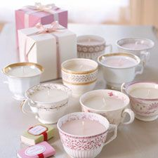 Make a candle in a vintage teacup. Scour garage sales for cheap but interesting tea cups, Start with a wick, melted old candle ends, and a little scented oil, such as lemongrass or grapefruit. #DIY #gifts