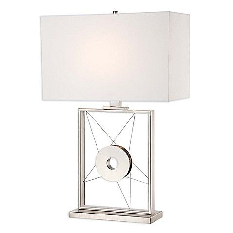 George Kovacs Reg Portables Table Lamp With Polished Nickel Finish White Lamp Shade Lamp Bed Bath And Beyond