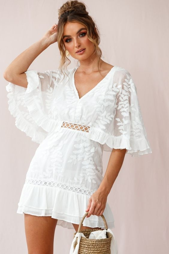 Caspar Leafy Embroidered Dress White