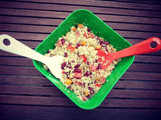 Couscous and roasting vegetables with dressing