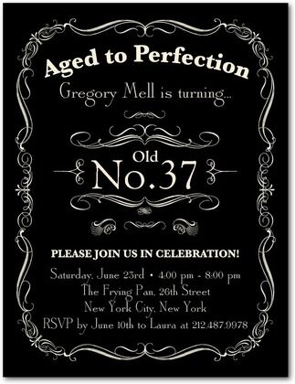 Aged to Perfection - Adult Birthday Party Invitations in Black ...