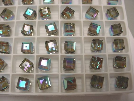12 Swarovski Black Diamond AB and/or Lime AB 8mm Cube, Article 5601, New Vintage Stock (lot of 12) QUANTITY Sale