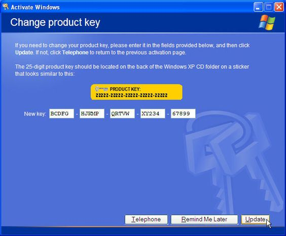 change windows 2000 product key