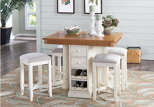 Shop For A Coventry Lane Cream 5 Pc Bar Height Dining Set At Rooms To Go Find Room Sets That Will Look Great In Your Home And Complement