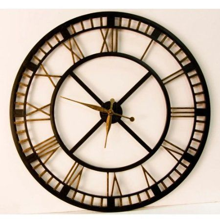 Large Wall Clock Large Iron Wall Clock With Roman Numerals Home Kitchen For