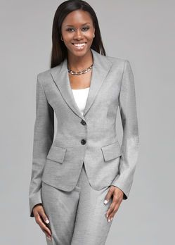A classical grey pant suit is a very executive look. Be sure to add this staple to your professional wardrobe. Banana Republic, The Limited and Nordstrom offer conservative and well fitting suits for all shapes and sizes.