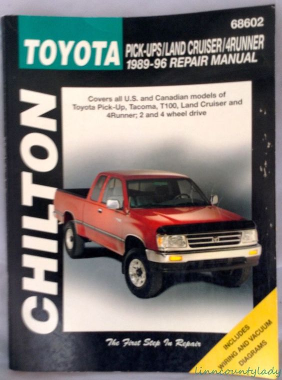 Chilton Toyota Pickup Land Cruiser 4runner 1989 96 Repair Manual Book Fr Shp Totaled Car Land Cruiser Car Care