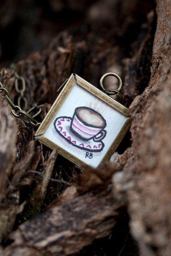 Mocha Choca Latte Necklace by barbara jane vintage on ETSY! http://www.etsy.com/listing/91687250/mocha-choca-latte-24-brass-chain
