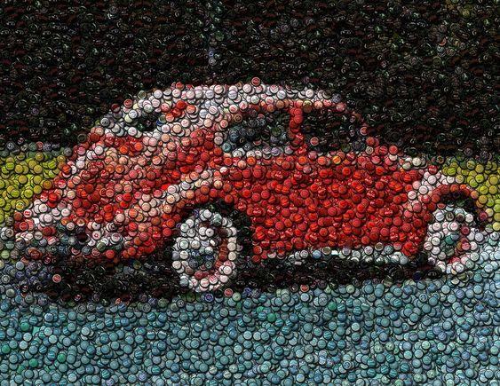 bottle cap mosaic red vw bug