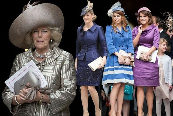 Camilla, Sophie Wessex and Princesses Eugenie and Beatrice at the Jubilee celebrations today