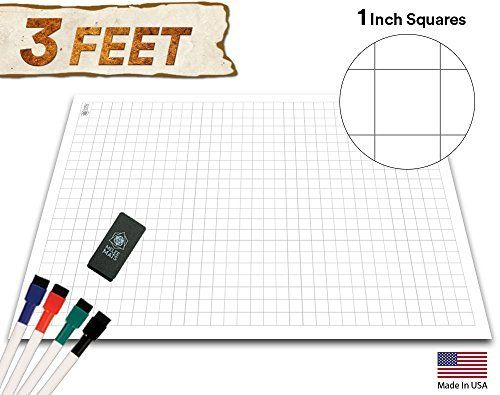 Amazon Com Battle Grid Game Mat 36 X 24 1 Inch Role Playing Dnd Map Reusable Table Top Non Hex Mats Table Grid Game Vinyl Tiles Dungeons And Dragons